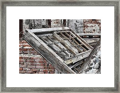 Antique Wood Window Framed Print by Olivier Le Queinec