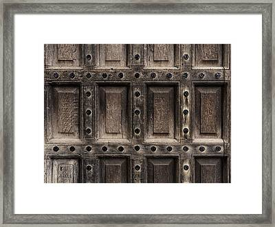 Antique Wooden Door Closeup Framed Print