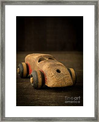Antique Wooden Toy Car Framed Print by Edward Fielding