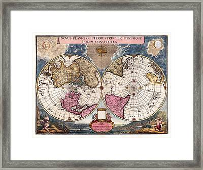 Antique World Map 1695 Novus Planiglobii Terrestris Per Utrumque Polum Conspectus Framed Print by Karon Melillo DeVega