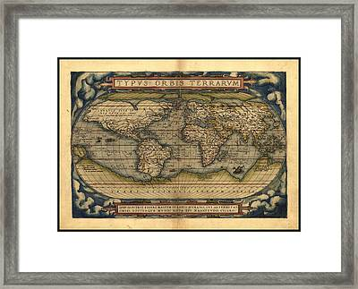 Antique World Map By Abraham Ortelius 1570 Ad Framed Print by L Brown