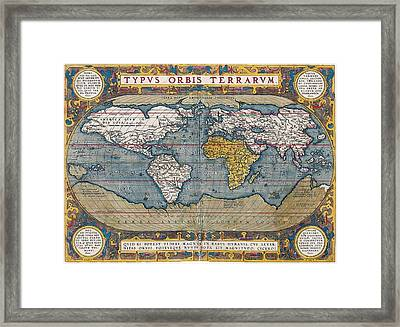 Antique World Map Circa 1570 Framed Print by L Brown
