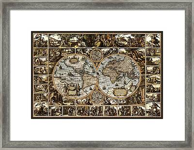 Antique World Map Circa 1670 II Framed Print by L Brown