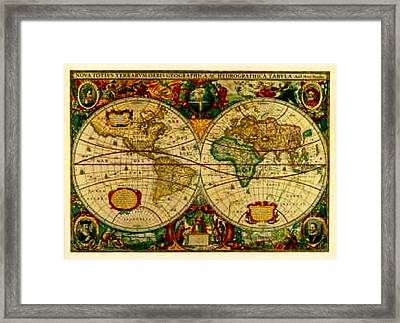 Antique World Map Circa 1670 Framed Print by L Brown