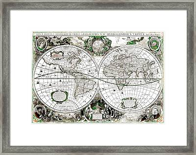 Antique World Map Poster Framed Print by Dan Sproul