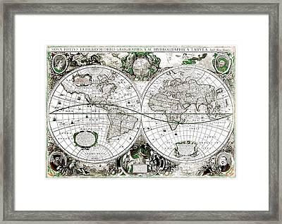 Antique World Map Poster Framed Print