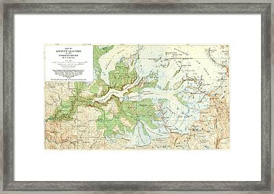 Antique Yosemite National Park Map Framed Print