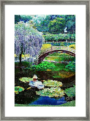 Antiqued Bridge Framed Print by Jeanette Brown