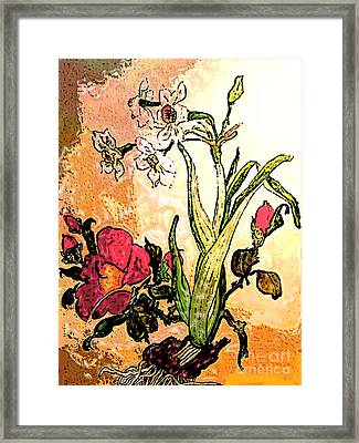 Antiqued Floral Watercolor Painting Framed Print