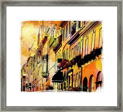 Antiqued Photograph Of Townhouses Framed Print by Laura Carter