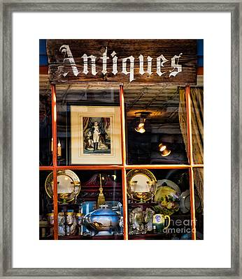 Antiques In The Window Framed Print