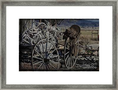 Antlers And My Saddle Framed Print