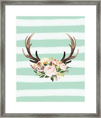 Antlers On Stripes Turquoise Framed Print