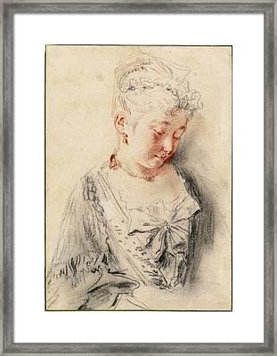 Antoine Watteau, Seated Woman Looking Framed Print by Quint Lox