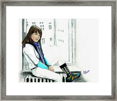 Framed Print featuring the drawing Antonela In The Window by Albert Puskaric