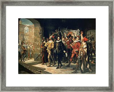 Antonio Perez 1540-1611 Released From Prison By The Rebels In 1591 Oil On Canvas Framed Print by Augustus or Augusto Ferran