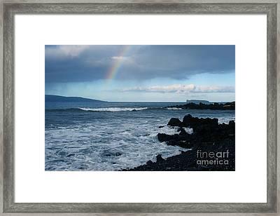Anuenue - Rainbow Over  Alalakeiki Channel Kihei Maui Hawaii Framed Print by Sharon Mau