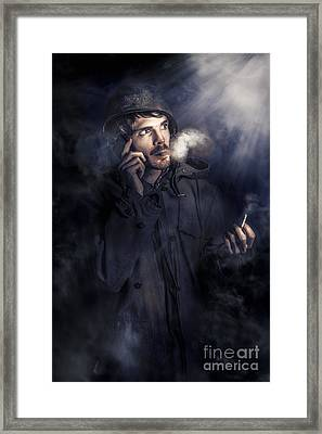 Anxious Australian Sas Soldier On Night Watch Framed Print