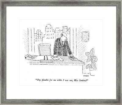 Any Plaudits Framed Print by Robert Mankoff