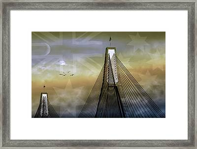 Framed Print featuring the photograph Anzac Bridge by Holly Kempe