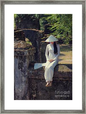 Ao Dai White Framed Print