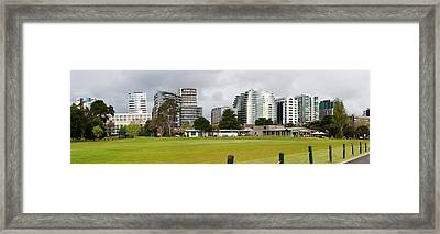 Apartment Buildings Along Queens Road Framed Print by Panoramic Images