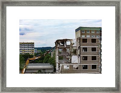 Apartments Being Demolished Framed Print