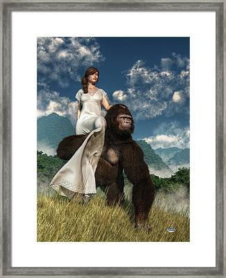 Ape And Girl Framed Print