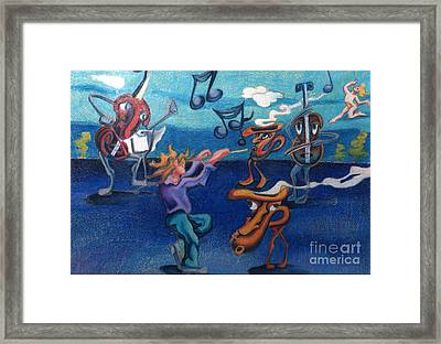 Apollinaire's First Symphony With Musical Instruments Framed Print by Genevieve Esson