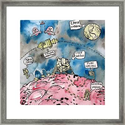 Apollo 11 Mission Comics Style Framed Print by Fabrizio Cassetta