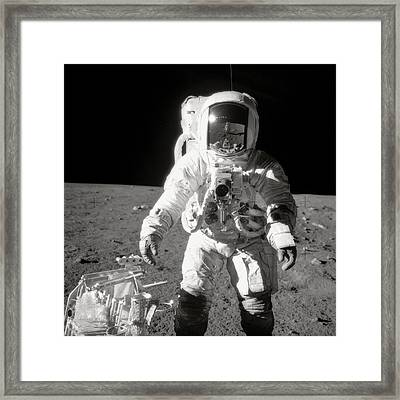 Apollo 12 Moonwalk - 1969 Framed Print by World Art Prints And Designs