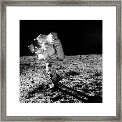 Apollo 14 Astronaut On The Moon Framed Print by Nasa/detlev Van Ravenswaay