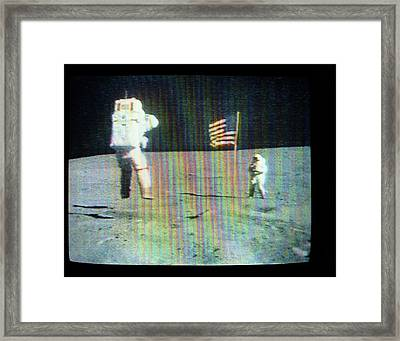 Apollo 16 Moon Walk Framed Print by Nasa