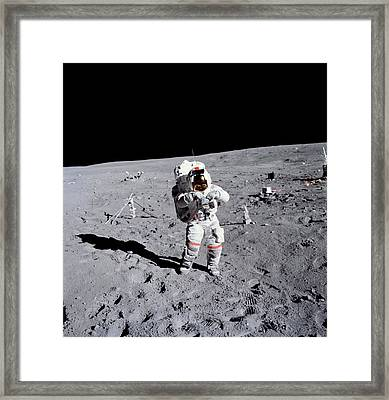 Apollo 16 Moowalk Framed Print by Nasa