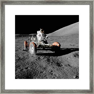 Apollo 17's Lunar Roving Vehicle Framed Print by Celestial Images