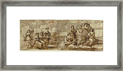 Apollo And The Muses Claude Lorrain Claude Gellée Framed Print