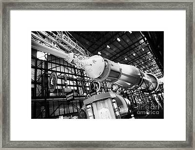 apollo command module on a saturn five rocket at the apollo saturn v center at Kennedy Space Center Framed Print