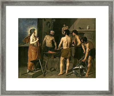 Apollo In The Forge Of Vulcan Framed Print
