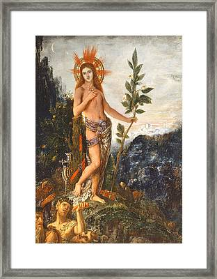 Apollo Receiving The Shepherds Offerings Framed Print by Gustave Moreau