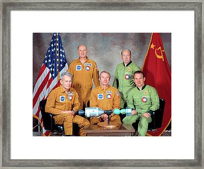 Apollo Soyuz Test Project Crew Framed Print by Nasa
