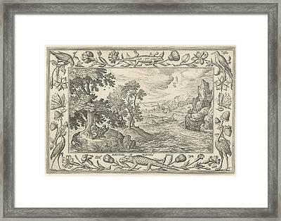 Apostle John On Patmos, Adriaen Collaert Framed Print by Adriaen Collaert And Eduwart Van Hoeswinckel