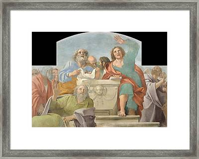 Apostles Around The Empty Sepulchre  Framed Print by Mountain Dreams