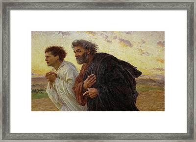 Apostles Peter And John Hurry To The Tomb On The Morning Of The Resurrection Framed Print by Celestial Images