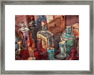 Apothecary - A Series Of Bottles Framed Print