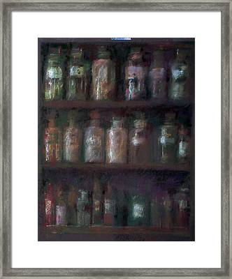 Apothecary Bottles Framed Print by Paez  Antonio