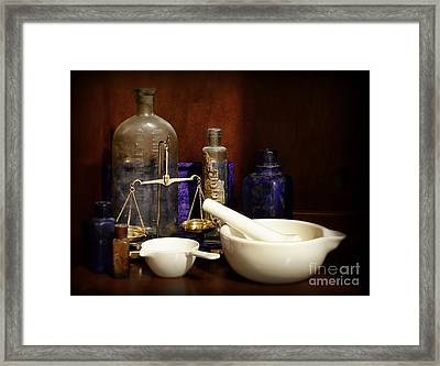 Apothecary - Mortar Pestle And Scales Framed Print by Paul Ward