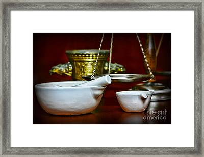 Apothecary Tools Scale And Measure Framed Print by Paul Ward