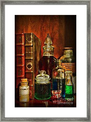 Apothecary - Vintage Jars And Potions Framed Print by Paul Ward