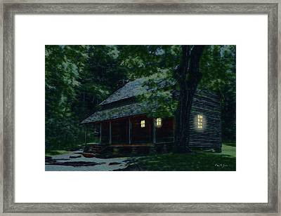 Rustic Home - Smoky Mountain Cabin Lights Framed Print by Barry Jones