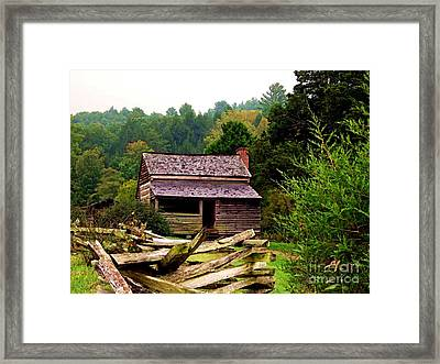 Appalachian Cabin With Fence Framed Print